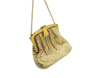 Small Purse. Gold Mesh Handbag. Whiting and Davis Evening Bag. Art Deco, Special Occasion. Made in USA Vintage 1950s Wedding Great Condition