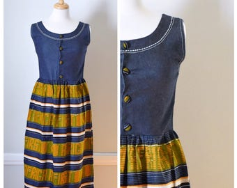 Vintage Dress / Vintage Denim Dress / Striped Maxi Dress / Sleeveless Denim Dress / Vintage Jumper / Size Small