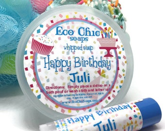 GIFT SET - Happy Birthday Personalized Birthday Cake Whipped Soap in a Jar  - Happy Birthday Personalized Lip Balm