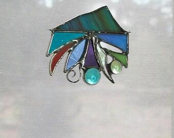 Abstract Stained Glass Suncatcher, Beach Decor, Ocean Jelly Fish, Art & Collectibles, Glass Art, Seashells, Handmade Gift Idea, Window Decor