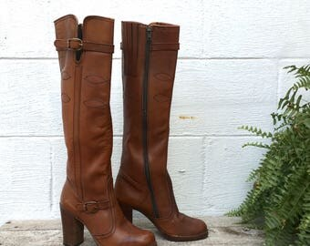 7 M | 1970's Tall Brown Leather High Heel Campus Style Western Boots