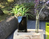 Cell Phone Docking Station, Wood Cell Phone Docking Station, Glass flower vase, iPhone charging stand, desk organizer, apple phone stand