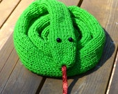 Snake Scarf Emerald Green Tree Boa bright green snake scarf with sparkly red ribbon tongue handmade quirky knitwear