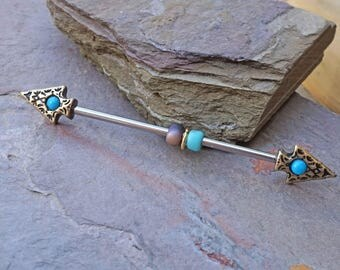 Gold Industrial Barbell Tribal Turquoise Spear Industrial Piercing Scaffold Piercing