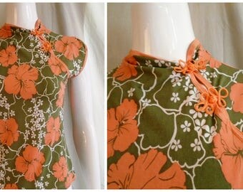 Vintage 1990s Sweet and Sexy Floral Cheongsam Style Blouse S/M