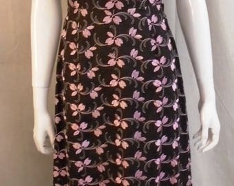 Vintage 1950s Dress Pink and Black Embroidered Wiggle Dress XSmall 34 x 25 x 36