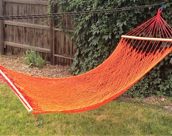 NEW! Single Hammock with Spreader Bars - BRIGHT Red & Orange