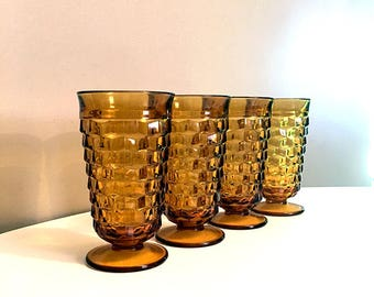 Vintage Amber Colony Whitehall Glass / Textured Footed Glassware / Indiana Glass / Ice Tea Goblets / Mid Century Cubist Glassware