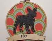 """4"""" French Bulldog Embroidery Hoop Ornament"""