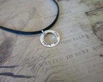 May the Lord Bless You and Protect You - Choker - Hebrew Necklace - Sterling Silver Washer Necklace - Custom Hebrew - Gift for Daughter