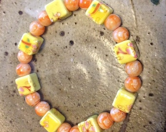 Yellow and pale orange stretch bracelet, beaded bracelet,