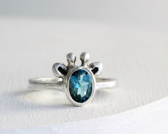London Blue Topaz Giraffe Ring,Sterling Silver Ring, Giraffe Fine Jewelry