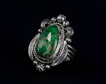 Green Turquoise Ring - Size 9-3/4