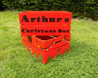 Hand Painted Personalized Christmas Eve Crate/Box/ Painted on all sides with seasonal designs.