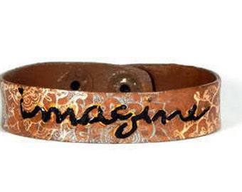 Leather Cuff Bracelet Brown Imagine Mandala Adjustable Snap Boho Bracelet Bohemian Jewelry