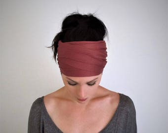 MARSALA Head Scarf - Bohemian Headband - Reddish Pink Hair Wrap - Non Slip Jersey Headband - Yoga Headband - Boho Hair Accessories