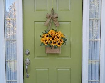Fall Wreath - Sunflower Wreath - Burlap Wreath - Fall Burlap Wreath- Autumn Wreath