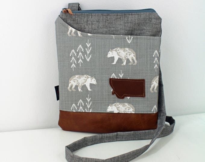 ZOE Messenger Cross Body Sling Bag -Bear Cubs with Montana Patch and PU Leather READY to SHIp