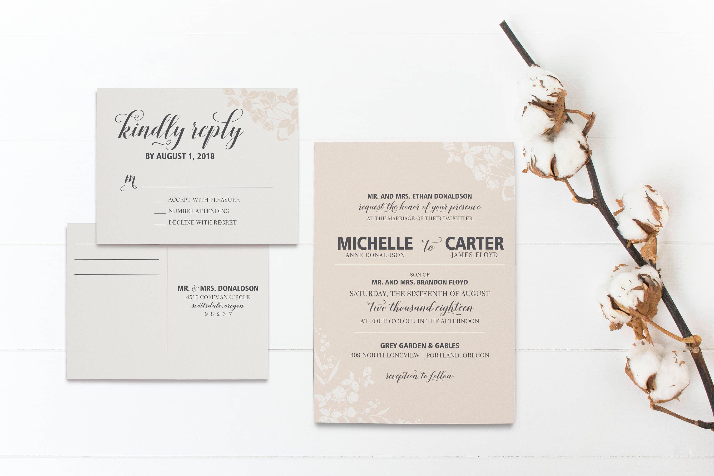 Printable Wedding Invitations Classic Black Tie Collection