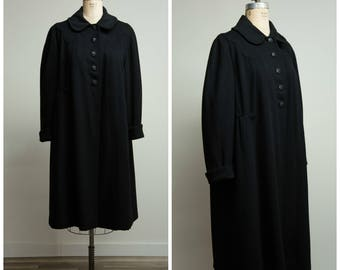 Vintage 40s Coat • Voice of Nature • Black Wool 40s Swing Coat Size Medium