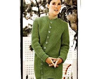 b62149e25ce2 Instant Download PDF Knitting Pattern to make a Thigh Length Long Chunky  Classic Womens Cardigan Jacket 5 Sizes to fit 32 to 40 inch bust