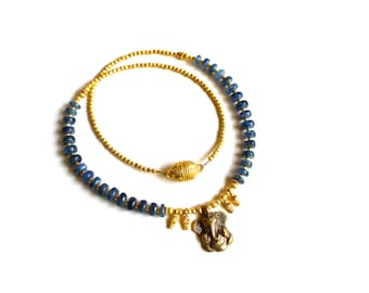 KYANITE + Ganesha 22k Gold Throat Chakra beaded necklace