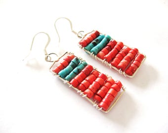Genuine Turquoise Earrings, Turquoise and Coral Earrings, Sterling Silver Earrings, Gemstone Earrings, Silver Earrings, handmade earrings,