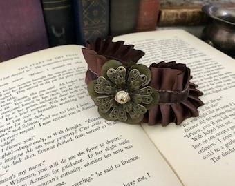 Satin Cuff Bracelet- Steampunk Cuff Bracelet- Brown Satin Bracelet- Flower Bracelet Plus Size- Plus Size Cuff Bracelet- Ruffle Bracelet