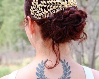 Gold Grecian Headpiece, Laurel Leaves Headband, Bridal Cap, Gold Head Piece, Juliet Cap veil, Art Deco Headpiece, Juliet Veil