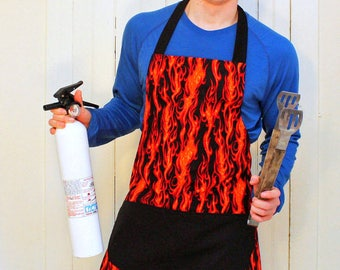 Mens Apron, Orange Flames Reversible Apron