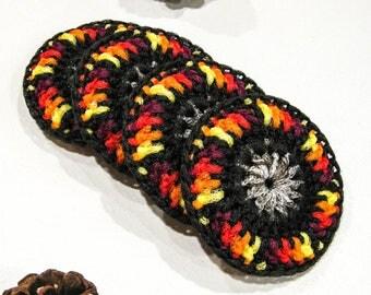 Super Size Dish Scrubbies - Set of 2 through 8 - Multicolor Fall Pot Scrubber - Crochet Nylon Tawashi