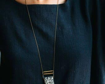 Eliza -- dalmatian jasper pendant, gemstone necklace with minimal lines, minimalist, earthy, boho style for her, black/white