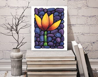 Tulip Flower Print - FREE Shipping - Stained-Glass Art - Yellow Tulip Wall Hanging - Art Nouveau Artwork - Flower Decor - Powder Room Art