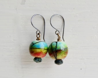 Miro - handmade artisan bead earrings in red, aqua and green with abstract decoration, lampwork and pressed glass  - Songbead UK, narrative