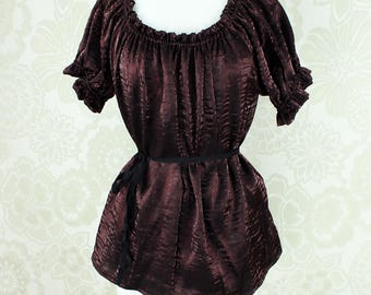 Steampunk Renaissance Cora Chemise in Root Beer Brown Crinkled Shimmer Satin -- Custom Made in Your Size