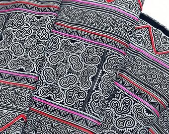 Thai Hand printed Fabric Natural Cotton Fabric by the yard Hmong Fabric Hill Tribe Fabric Vintage Fabric Indigo Batik Black Pale Blue HF21