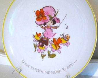 Vintage Plate - Mopsie - Platter - Decor - 1973 - Cake Plate - Inspirational Sayings - Porcelain - Collectors Plate - Mod Girl