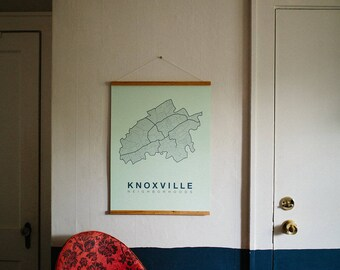 Knoxville Map Screen Print Poster Neighborhood Map Modern Home Decor Print Knoxville