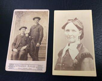 CDV Photos two Men One Lady What Cheer, Iowa Civil War Era