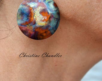 Large Circle - Flame Painted Copper Earrings - Christine Chandler - Multi colored - copper earrings - Circles
