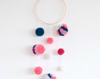 Pink and Blue Pom Pom wall hanging/ Yarn pom wall hanging/ Pom Pom wall art/ pompoms/ yarn wall hanging/ Pink wall hanging