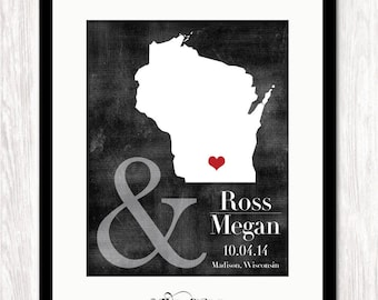 Wedding Location Gift, Engagement Location Gift, Unique Gift Idea, Couples Gift, Couples Shower Gift, Custom Map Print, Personalised Map