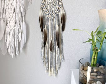 Blue Dream Catcher // Crystal Quartz Macrame Wall Hanging, White & Brown Feathers, Dip Dye Ombre, Boho Bedroom, Baby Boys Nursery Decor