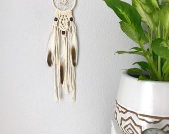Mini Macrame Dream Catcher // Ivory Brown White Feathers, Copper Beads, Boho Home Nursery Decor, Baby Shower Gift, Handmade Car Dreamcatcher