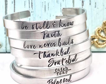 Christmas Gift Exchange Idea - Christmas Gifts for Her  - Hand Stamped Message Bracelet - Religious Sayings - The Charmed Wife - Gifts