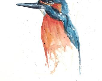 Watercolour Bird Art, Kingfisher, Kingfisher painting, watercolor, abstract