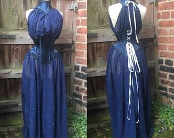 "Star print chiffon dress and waspie (24"" waist)"