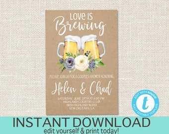 Love is Brewing Invitation, Co-Ed Bridal Beer Invitation, Couples Shower, Engagement Party, Stock the Bar Party, Templett, Instant Download