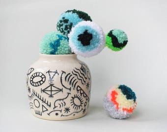"hand carved ceramic vase / graphic design // ""DOODLE"""