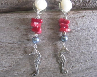 sea horse  and coral earrings, tropical earrings, made in Hawaii, coral and pearl jewelry